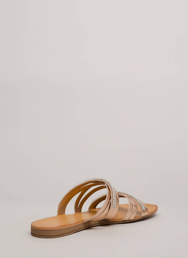 Forever Strappy Jeweled Slide Sandals DKPENNY