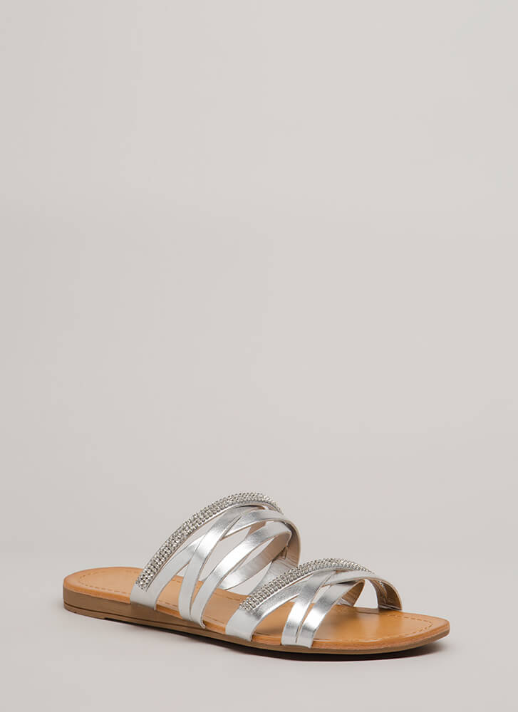 Forever Strappy Jeweled Slide Sandals SILVER