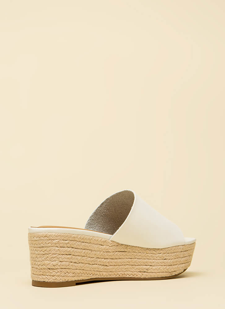 Easy Go Braided Platform Wedges WHITE (Final Sale)