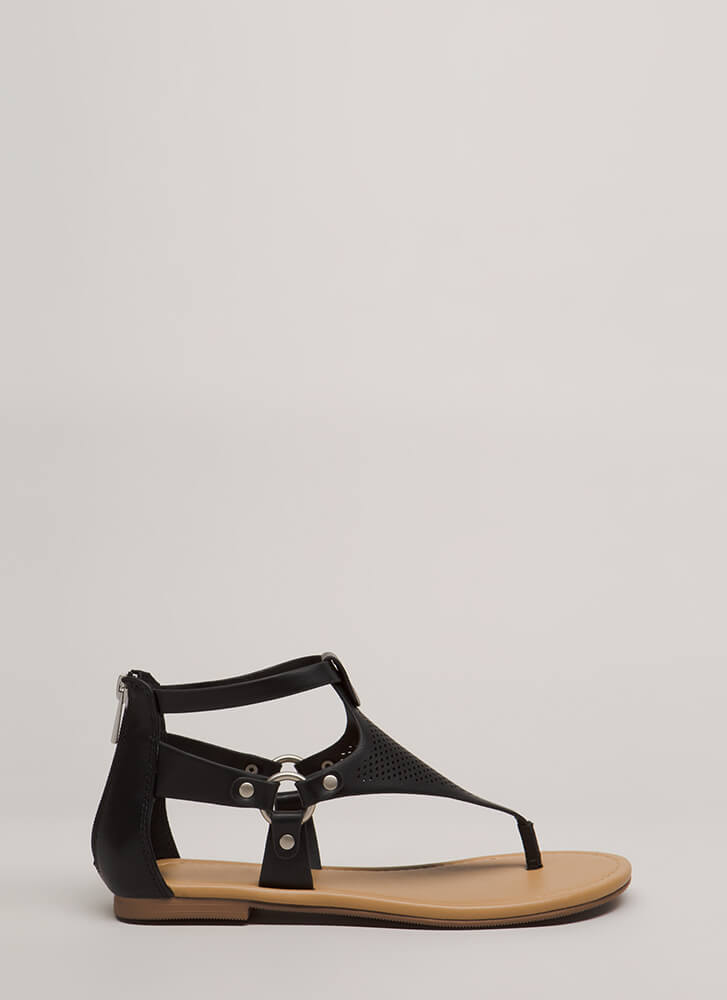 Ring It On Faux Leather Thong Sandals BLACK
