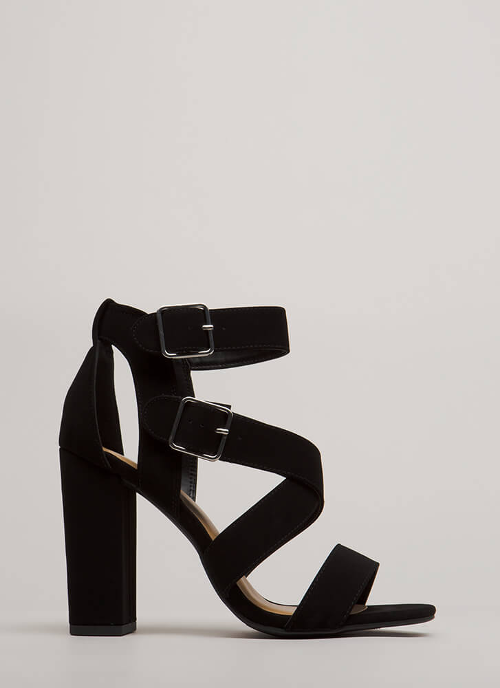 Strap To Attention Chunky Heels BLACK