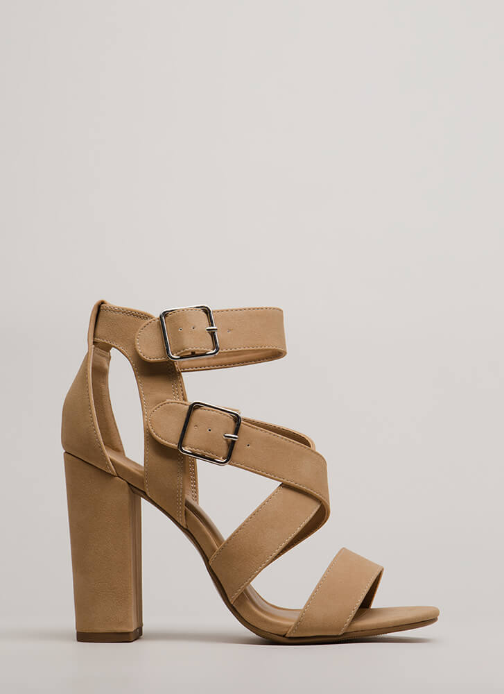 Strap To Attention Chunky Heels NATURAL