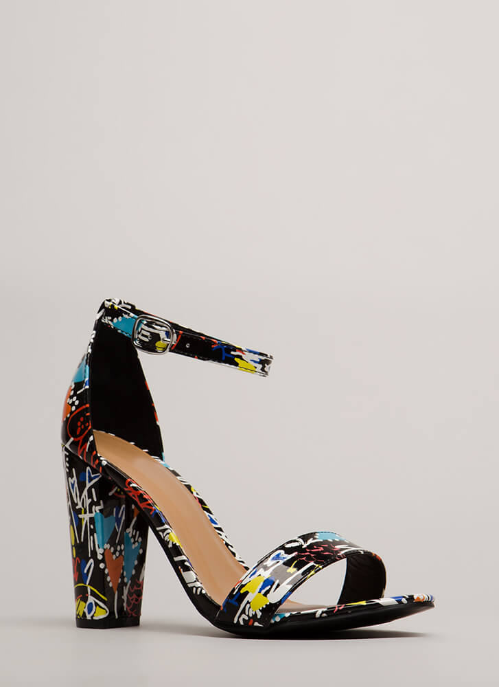 Draw Attention Chunky Doodle Heels BLACKMULTI