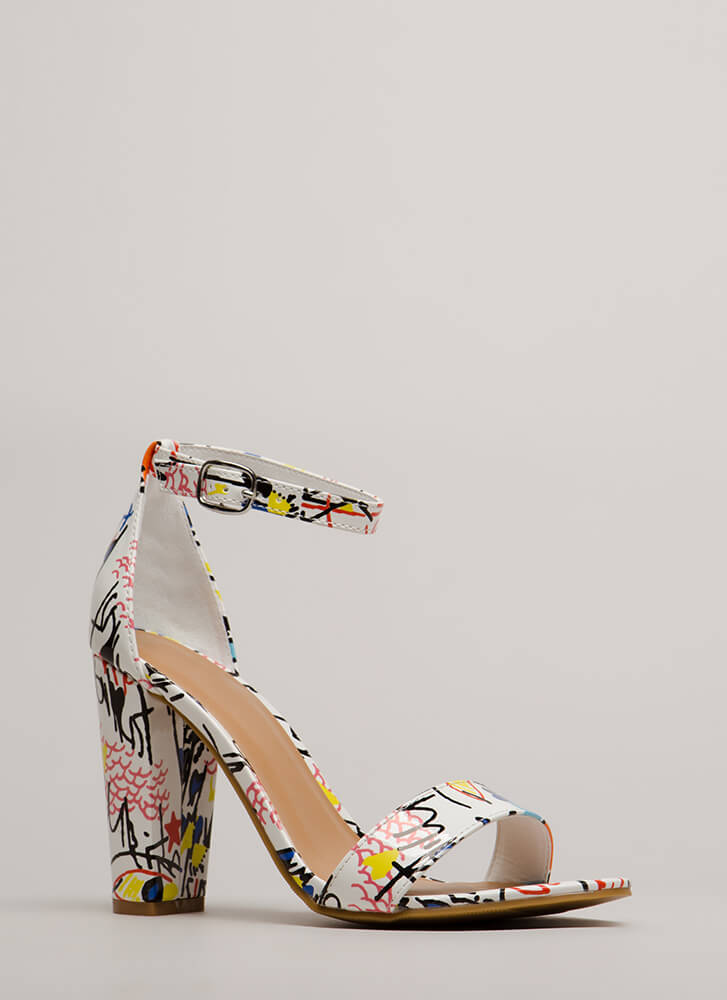 Draw Attention Chunky Doodle Heels WHITEMULTI