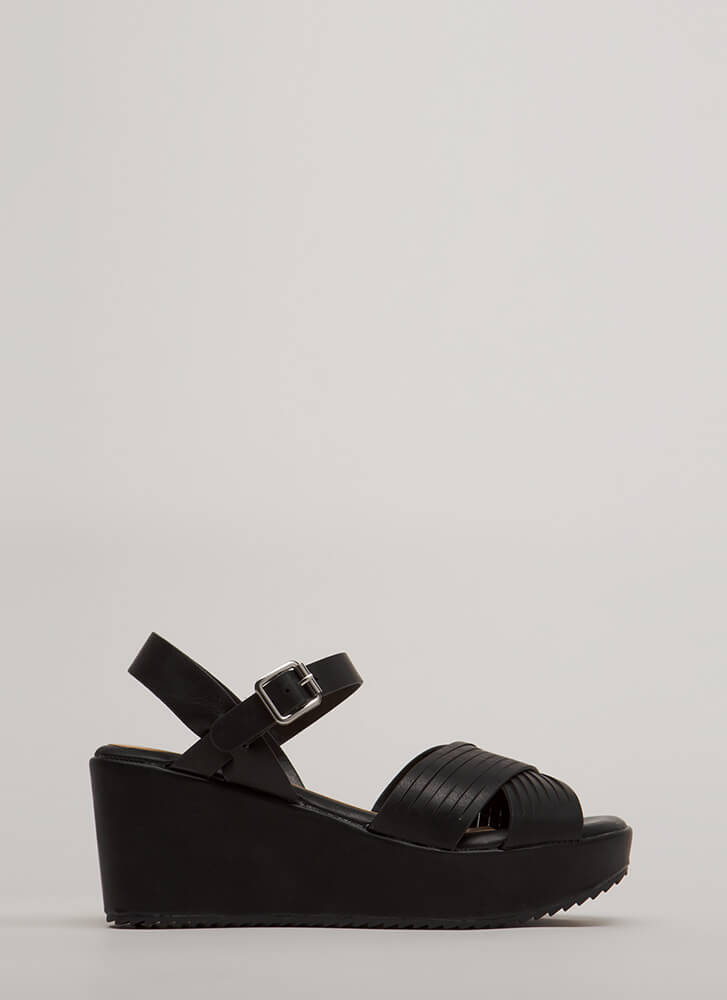 Slits All Good Strappy Platform Wedges BLACK