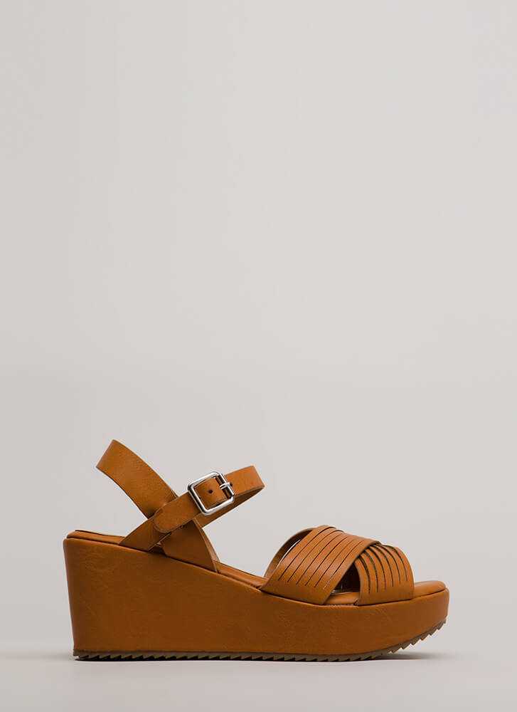 Slits All Good Strappy Platform Wedges TAN