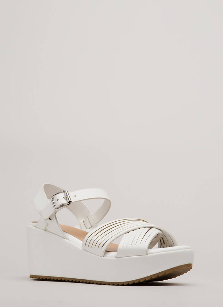 Slits All Good Strappy Platform Wedges WHITE