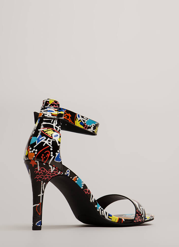 Draw Attention Doodle Print Heels BLACKMULTI