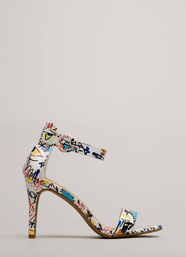 Draw Attention Doodle Print Heels WHITEMULTI