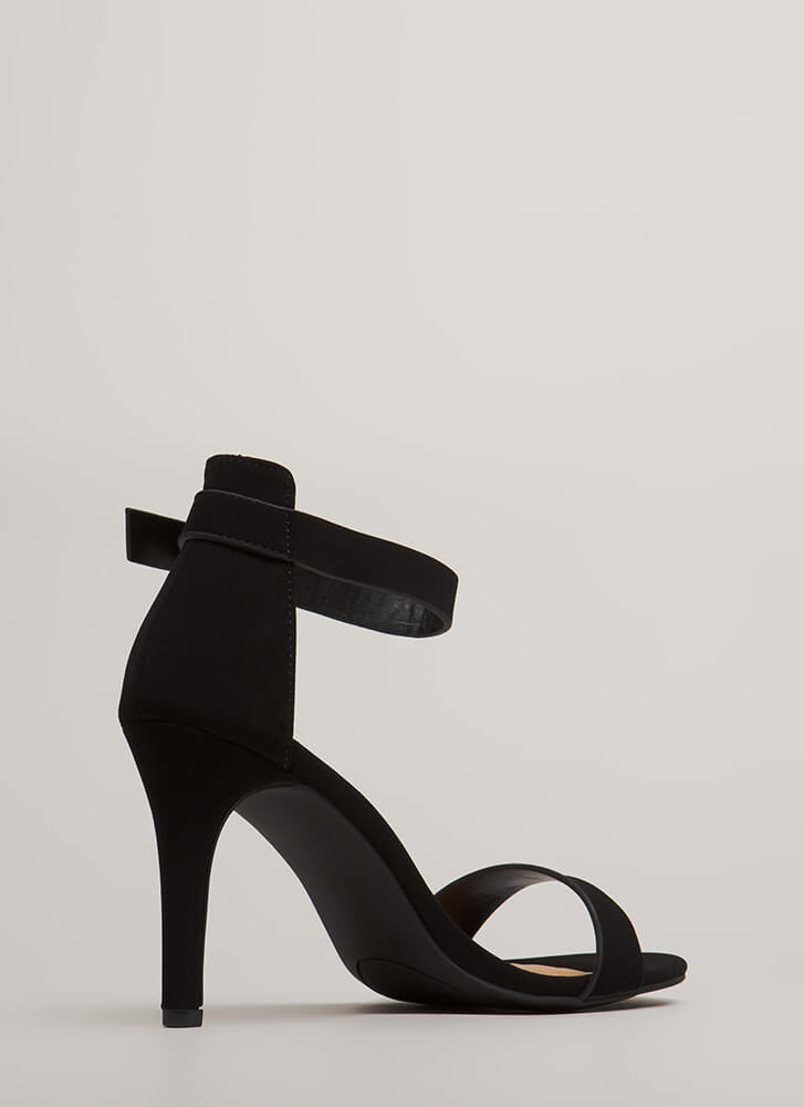 Strappy Satisfaction Faux Nubuck Heels BLACK