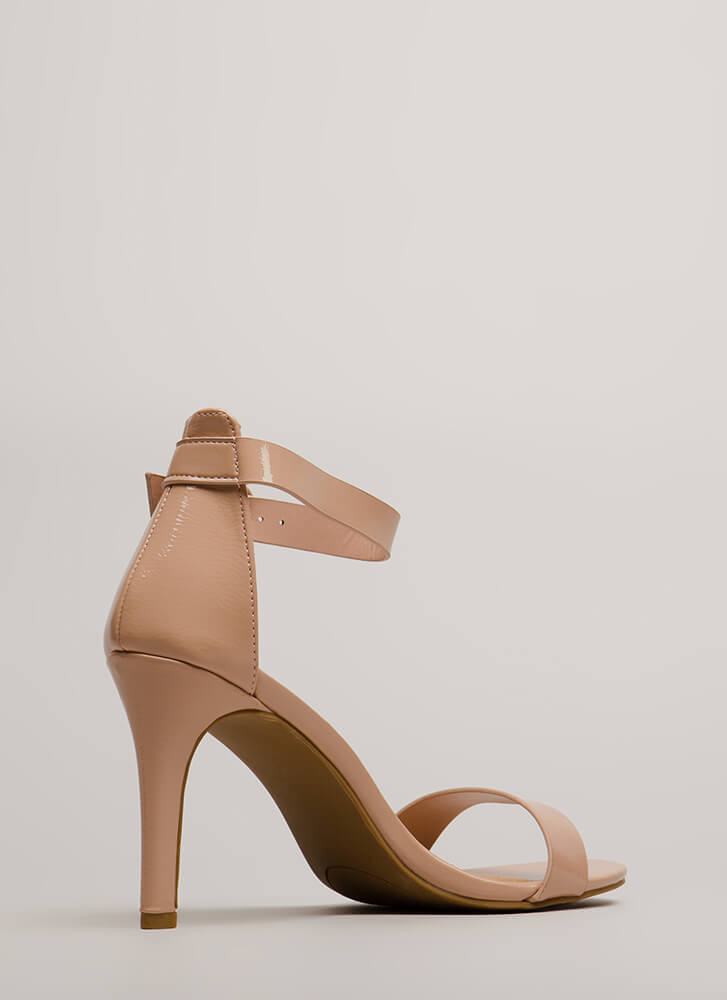 Strappy Satisfaction Faux Patent Heels NUDE