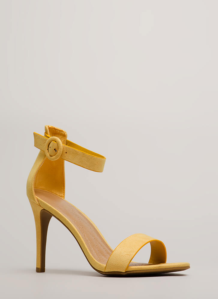 Strappy Satisfaction Faux Suede Heels YELLOW