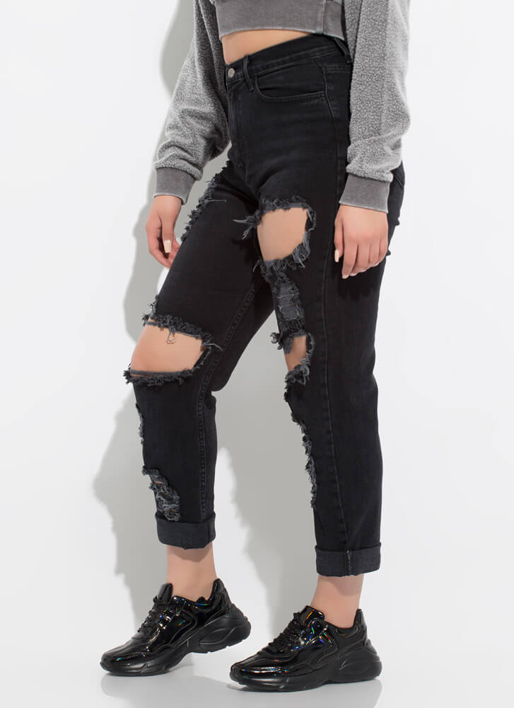 No Strings Destroyed Boyfriend Jeans BLACK