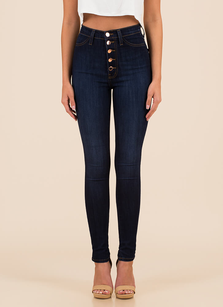 Hot Button High-Waisted Skinny Jeans DKBLUE