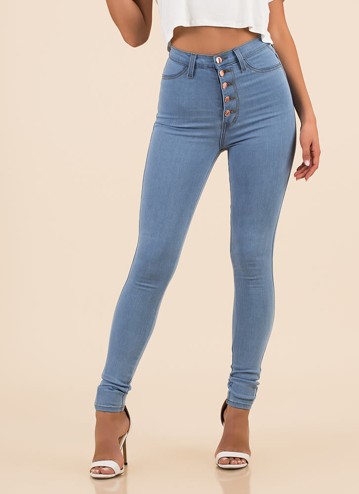 Hot Button High-Waisted Skinny Jeans LTBLUE
