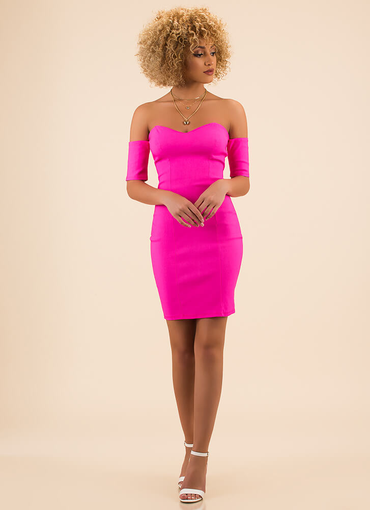 Fancy Me Off-Shoulder Sweetheart Dress FUCHSIA