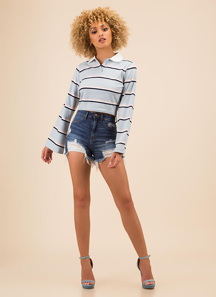 Casual Flare Striped Collared Top BABYBLUE