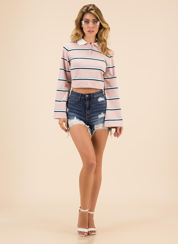 Casual Flare Striped Collared Top DKPINK