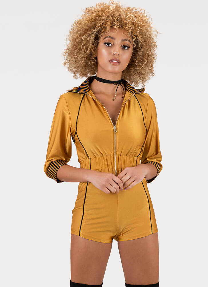 On The Right Track Zip-Front Romper MUSTARD