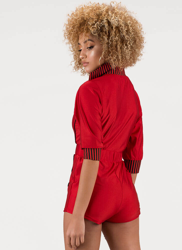 On The Right Track Zip-Front Romper RED