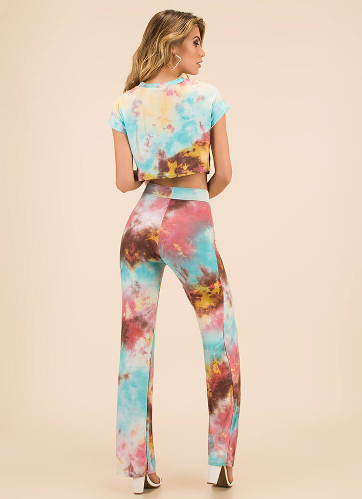 Truly Tie-Dye Top And Pant Set PINKMULTI