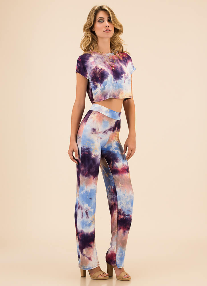 Truly Tie-Dye Top And Pant Set PURPLEMULTI