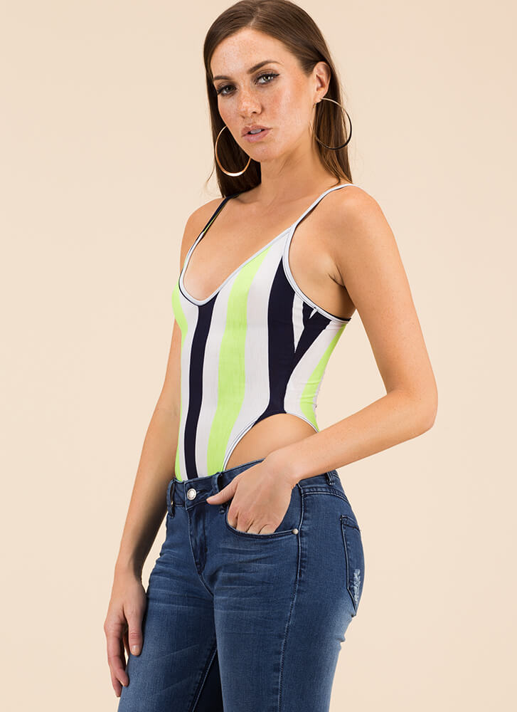Feeling The High-Cut Striped Bodysuit LIME