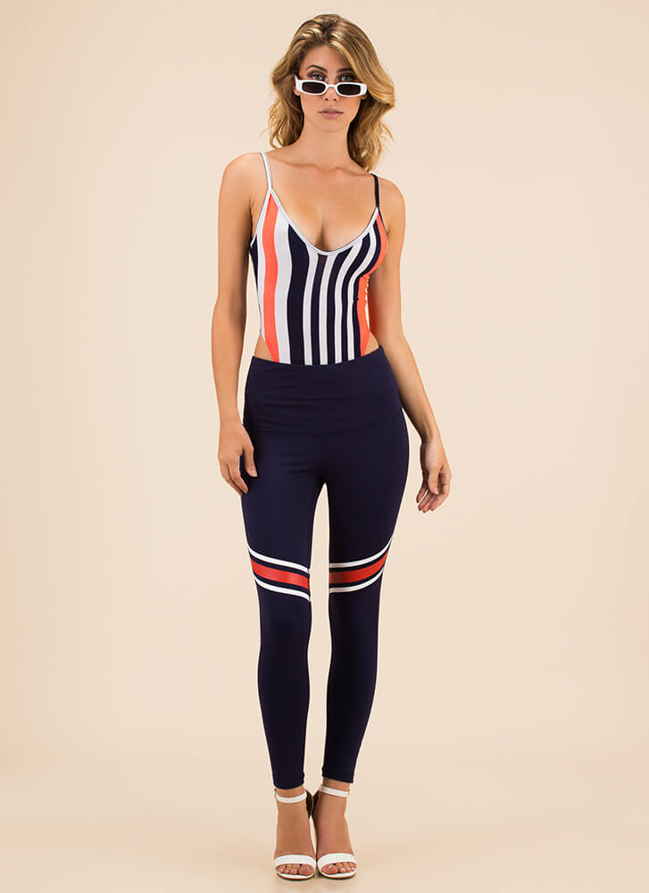 Feeling The High-Cut Striped Bodysuit NEONPINK