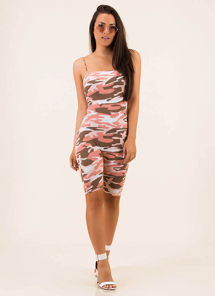 First In Command Camo Print Romper PINK