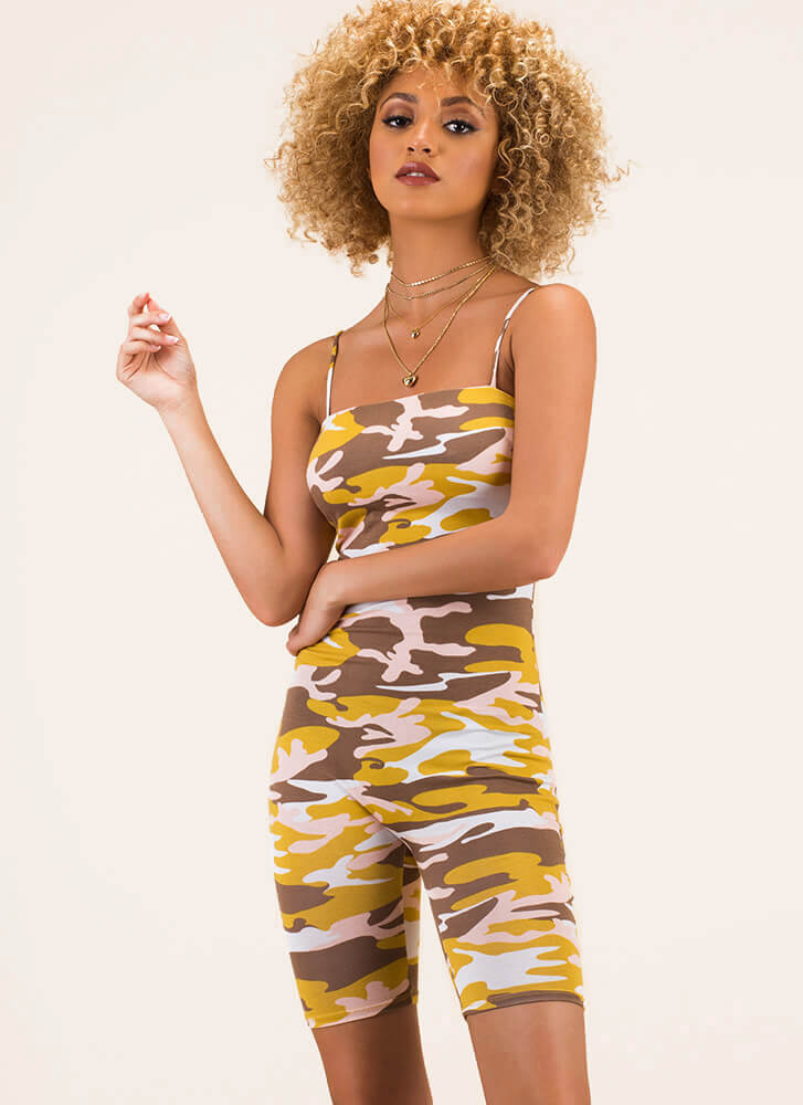First In Command Camo Print Romper YELLOW