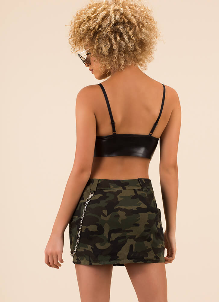 Follow The Link Chain Accent Miniskirt ARMY