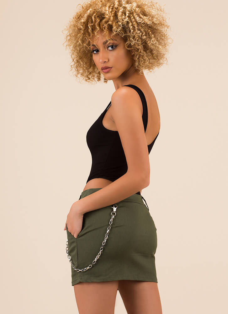 Follow The Link Chain Accent Miniskirt OLIVE