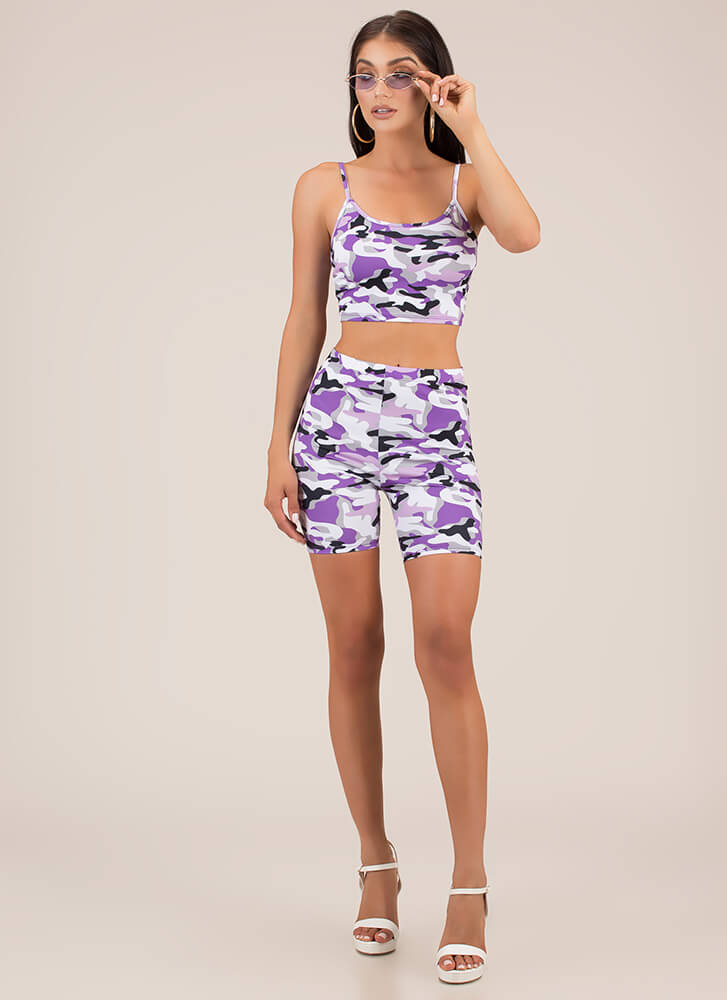 Classified Ops Camo Top And Shorts Set PURPLE