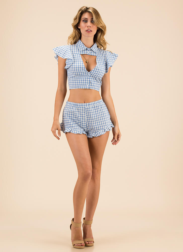My Mary Ann Gingham Top And Shorts Set BLUE