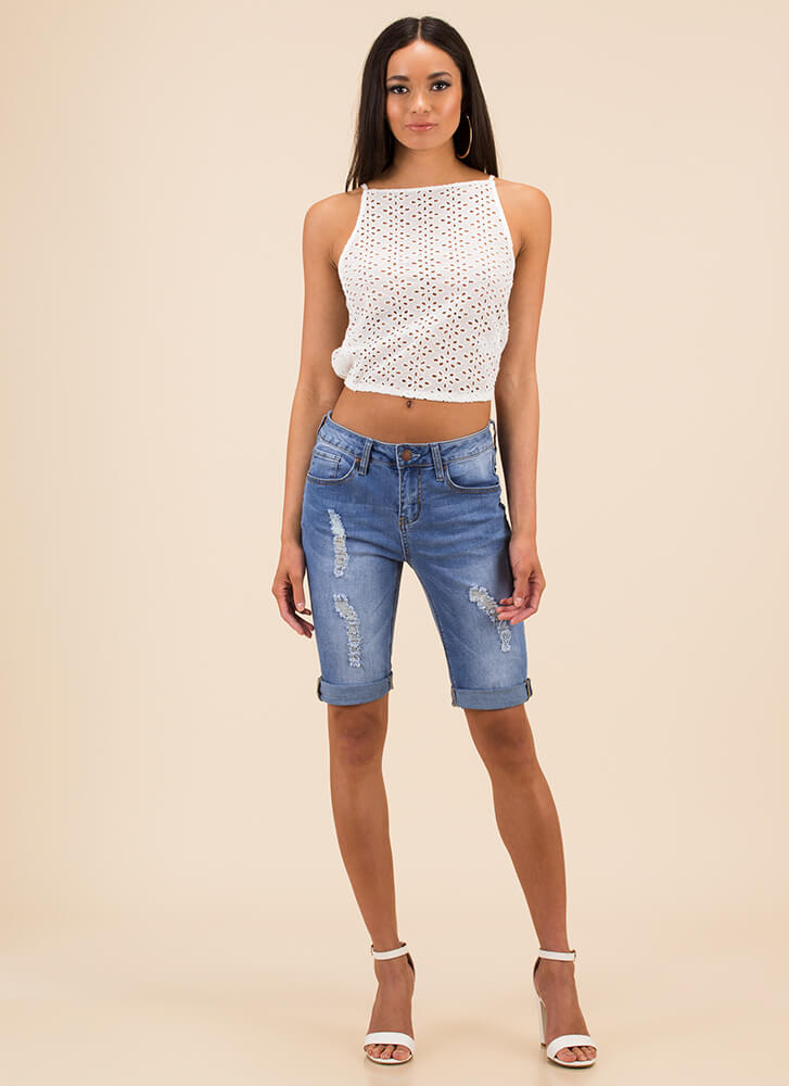 Easy On The Eyelets Tie-Back Top WHITE