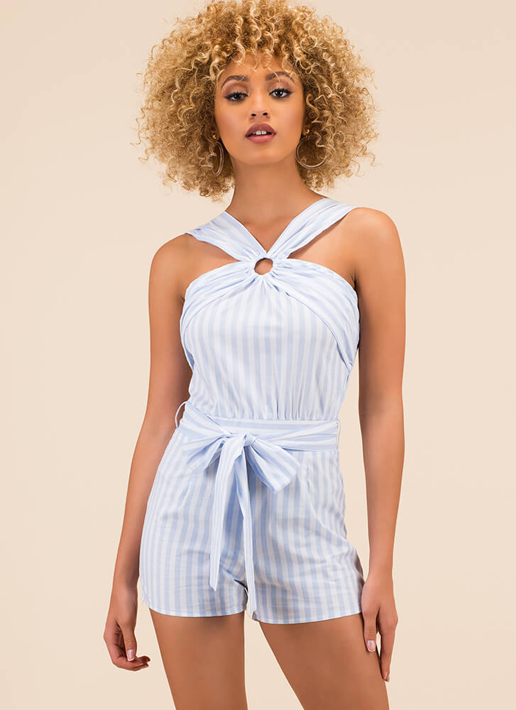 Gimme A Ring Tied Striped Romper BLUE