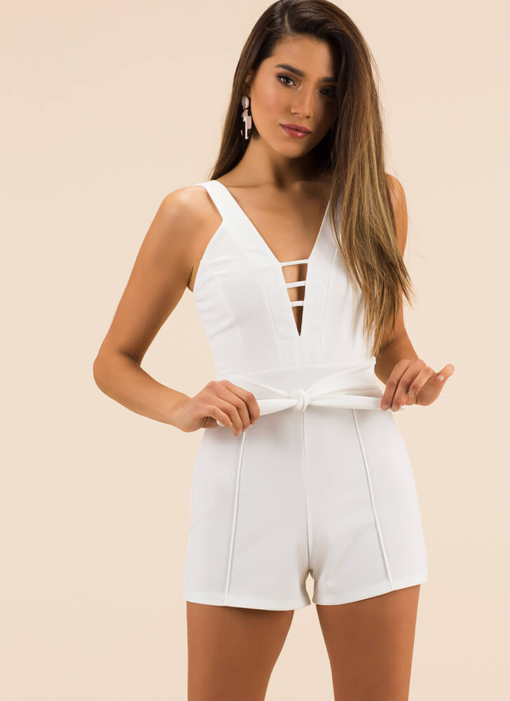 3 Straps Plunging Tie-Front Romper WHITE