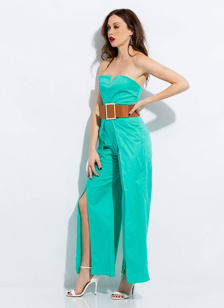 Away We Go Strapless Palazzo Jumpsuit JADE