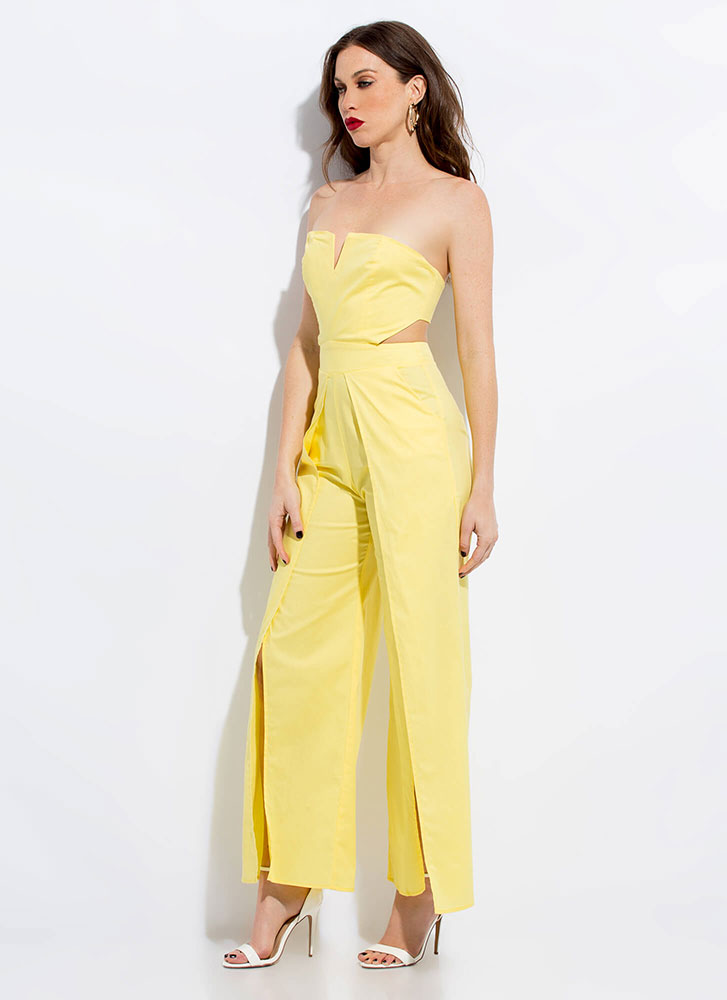 Away We Go Strapless Palazzo Jumpsuit YELLOW