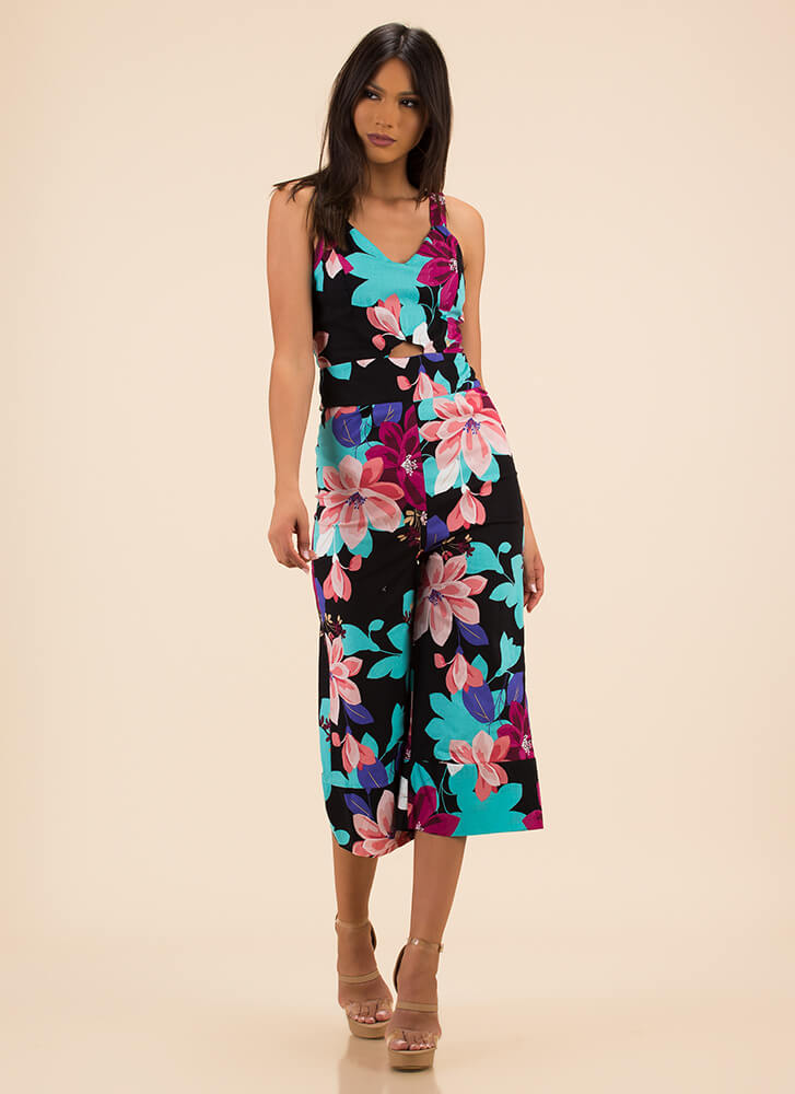 Pretty Petals Cropped Floral Jumpsuit BLACK