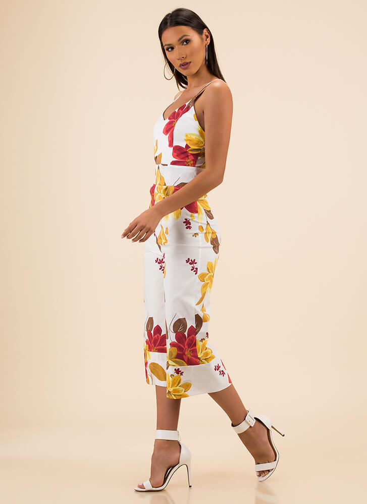 Pretty Petals Cropped Floral Jumpsuit WHITE