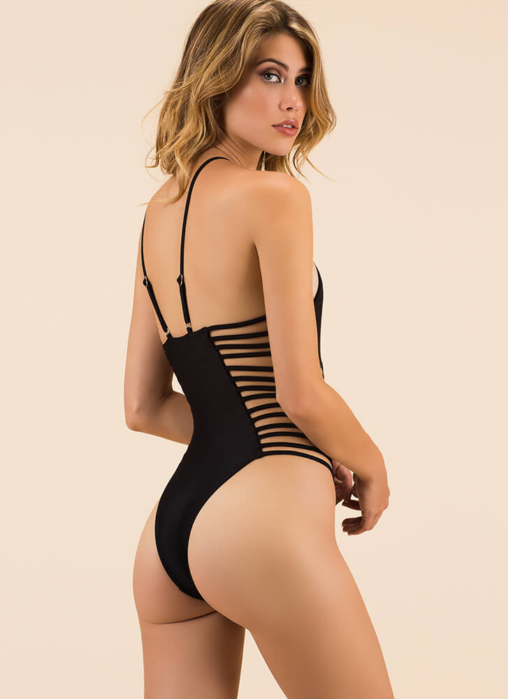 Strap Happy Plunging Cut-Out Swimsuit BLACK