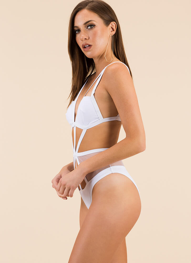 Strappy Ending Caged Mesh Swimsuit WHITE (Final Sale)