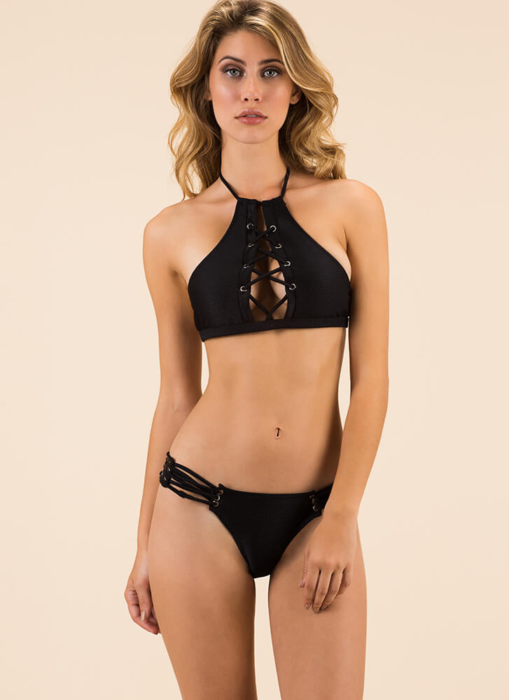 Edge Of The Water Laced Bikini Set BLACK