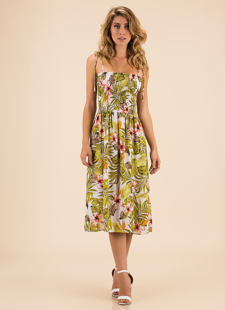 Tropical Foliage Floral Smocked Dress WHITEMULTI