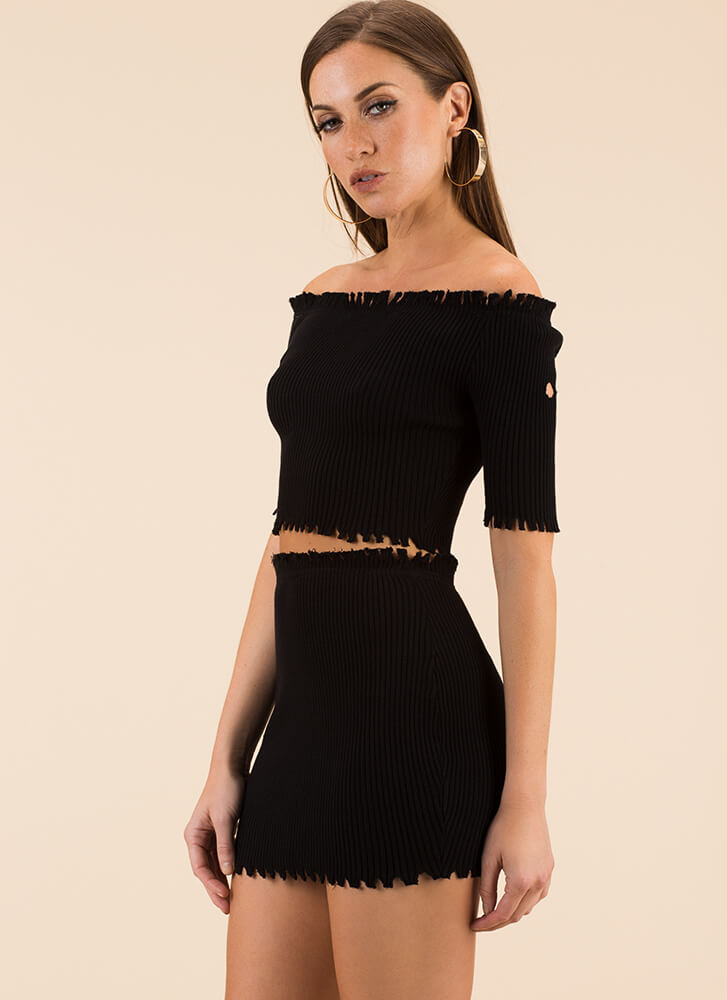 Toothsome Jagged Top And Skirt Set BLACK