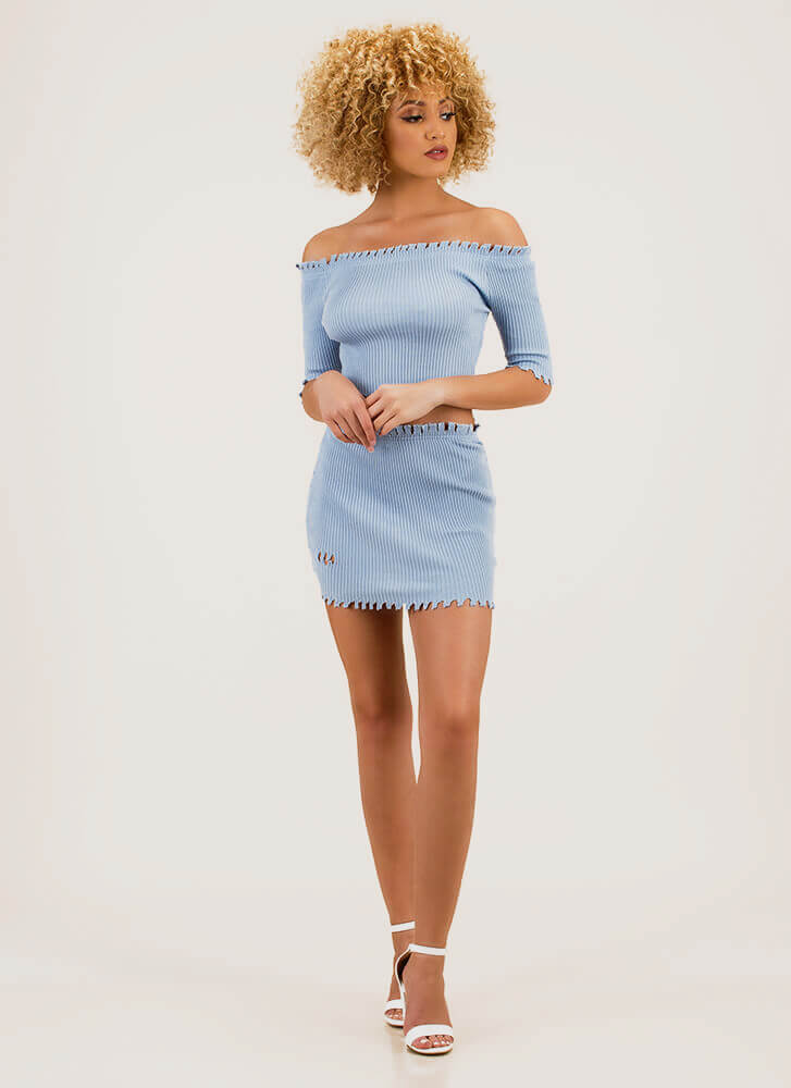 Toothsome Jagged Top And Skirt Set BLUE