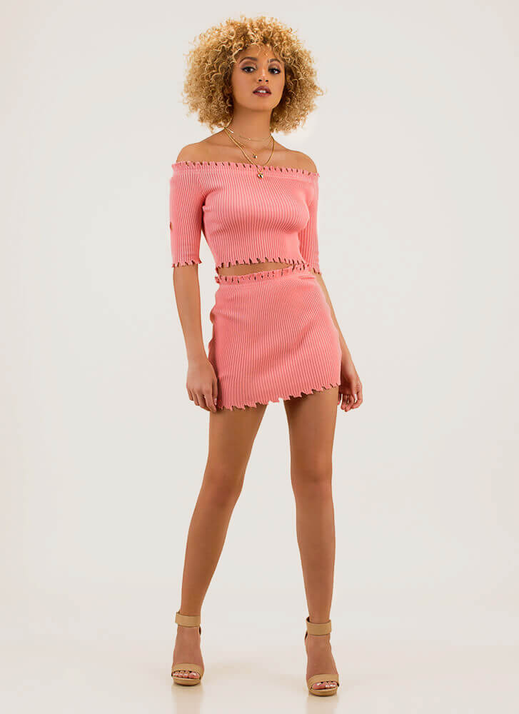 Toothsome Jagged Top And Skirt Set PINK
