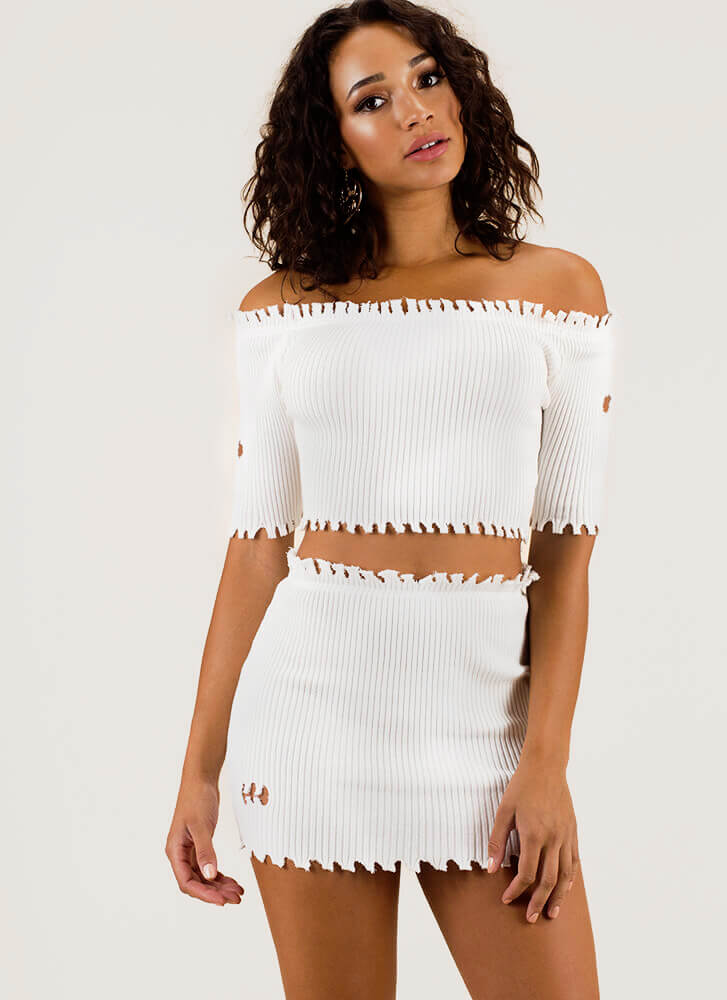 Toothsome Jagged Top And Skirt Set WHITE