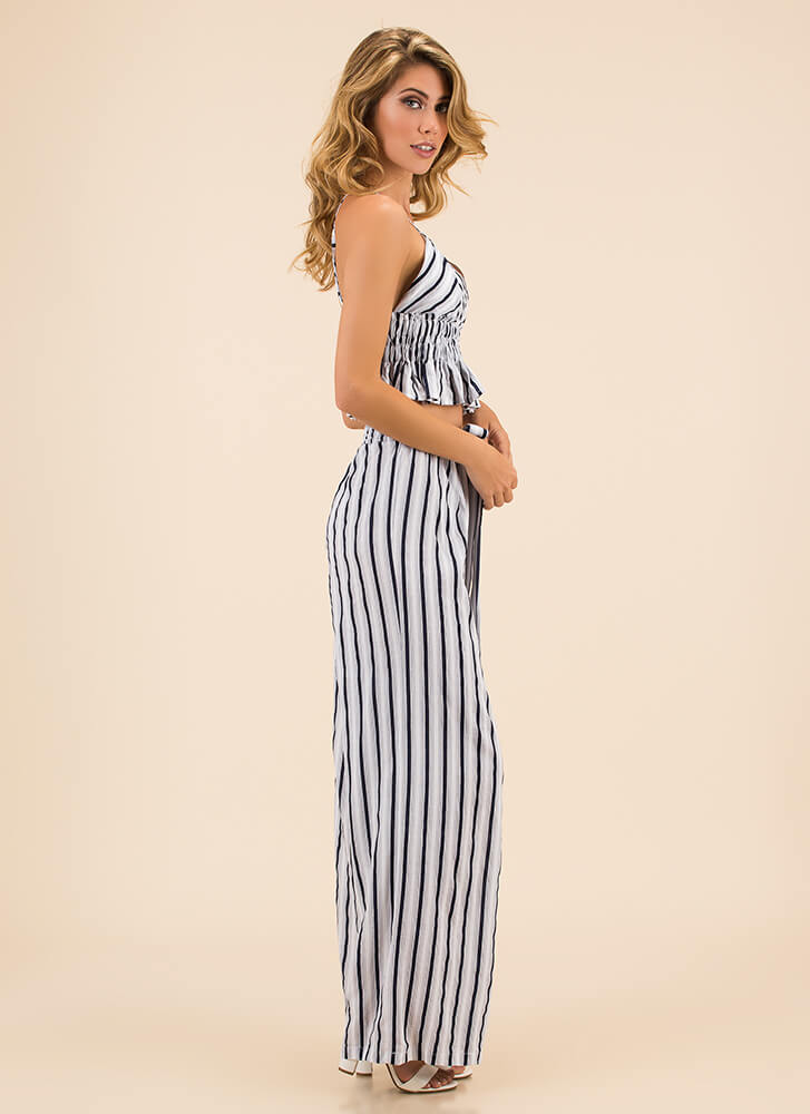 One Plus One Striped Top And Pant Set WHITENAVY (Final Sale)